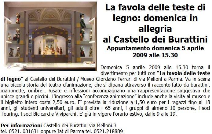 La favola delle teste di legno: domenica in allegria  al Castello dei Burattini