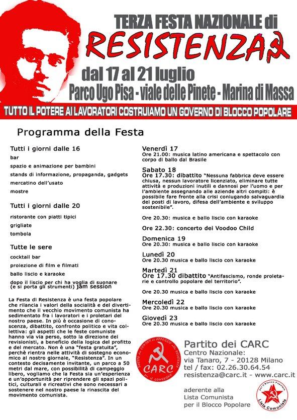 CARC 3° Festa Nazionale di Resistenza, Massa Carrara dal 17 al 26 Luglio 2009