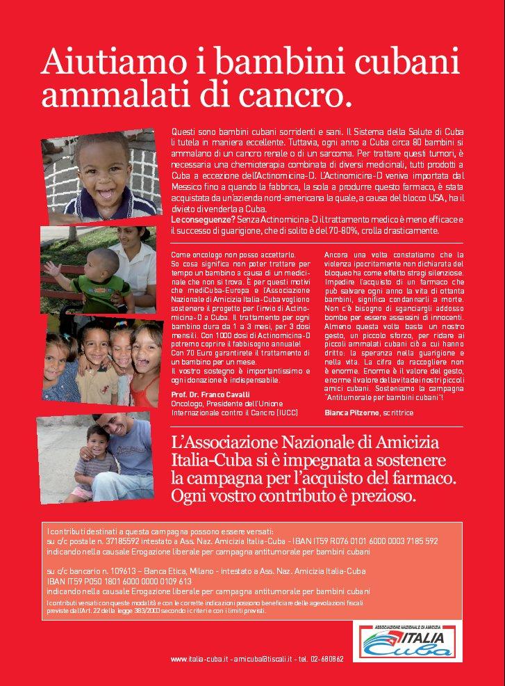 Campagna, aiutiamo i Bambini cubani ammalati di cancro