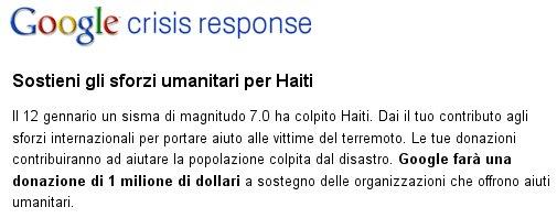 Google, sostieni gli sforzi umanitari per Haiti