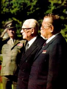 Il  presidente della Repubblica  Italiana,  il partigiano Sandro Pertini,  e il presidente della Repubblica Socialista Federale di Jugoslavia,  il partigiano Josep Broz Tito