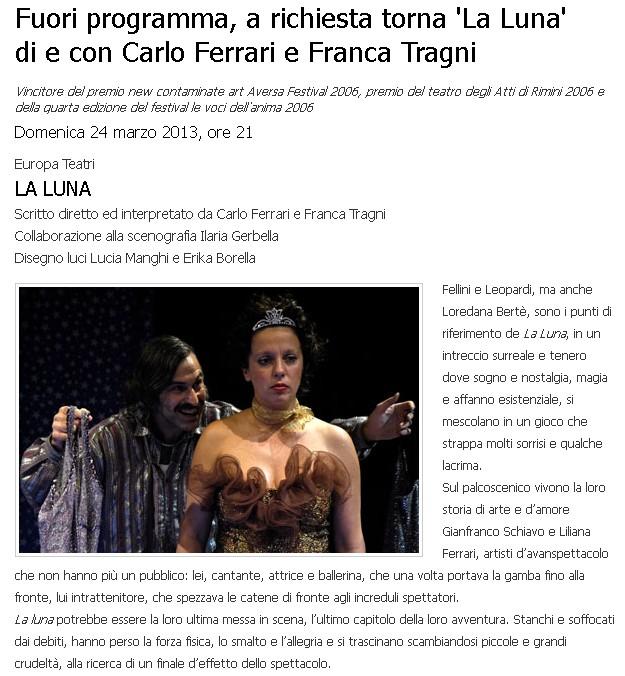 Domenica 24 marzo non perderti 'La Luna' con Carlo Ferrari e Franca Tragni