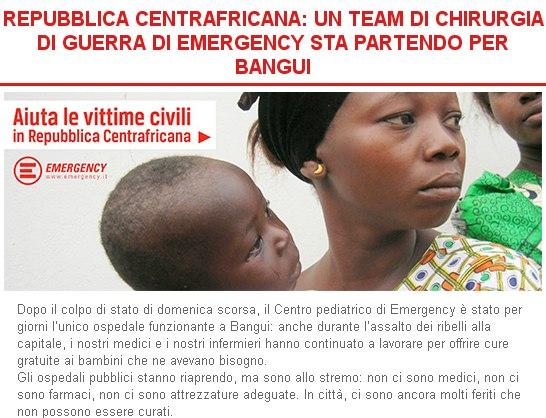REPUBBLICA CENTRAFRICANA: UN TEAM DI CHIRURGIA DI GUERRA DI EMERGENCY STA PARTENDO PER BANGUI