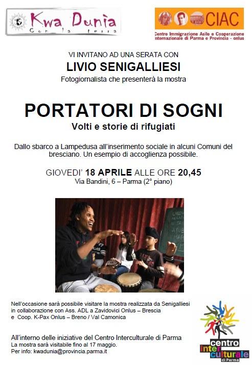 """Livio Senigalliesi a Parma  """"Portatori di sogni"""" - Un esempio di accoglienza possibile"""