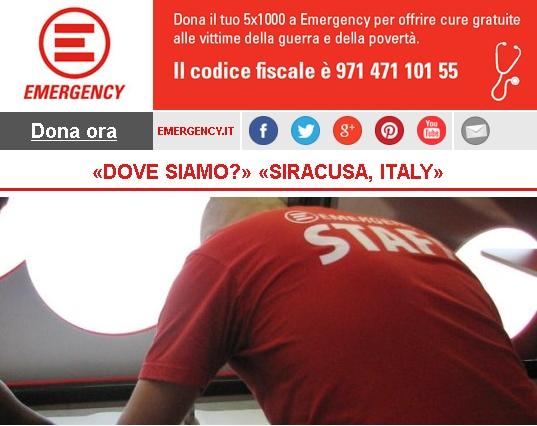 Emergency, «DOVE SIAMO?» «SIRACUSA, ITALY»