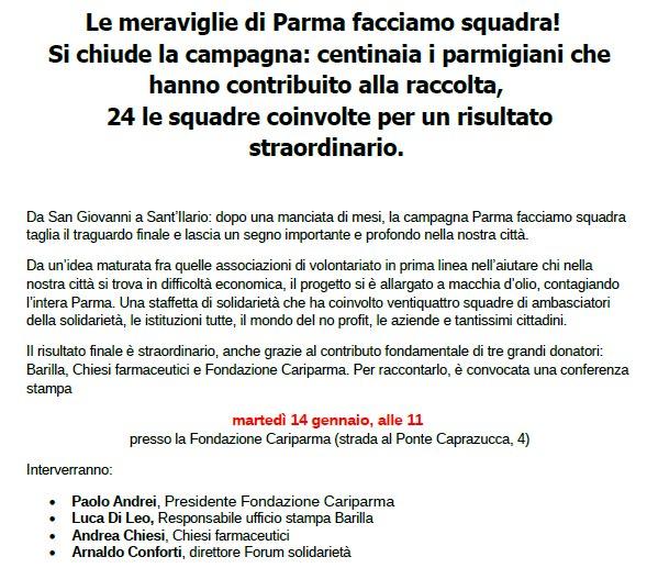Parma facciamo squadra: CONFERENZA STAMPA di fine campagna