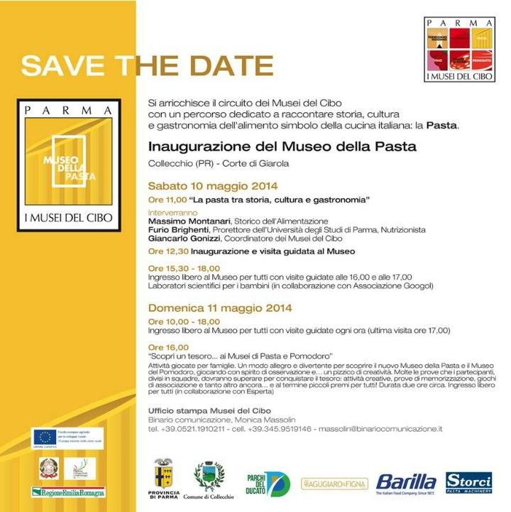 SAVE THE DATE 10 maggio 2014 - INAUGURAZIONE del MUSEO della PASTA - Musei del Cibo
