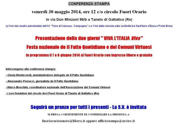 Invito conferenza stampa venerdi 30 maggio al Fuori Orario