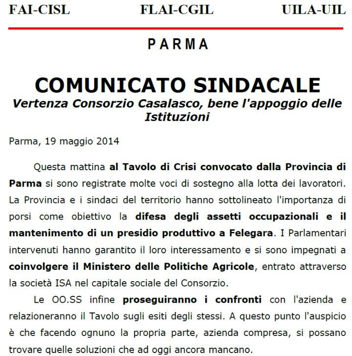 Comunicato Flai Cgil, Fai Cisl, Uila Uil di Parma su vertenza Casalasco
