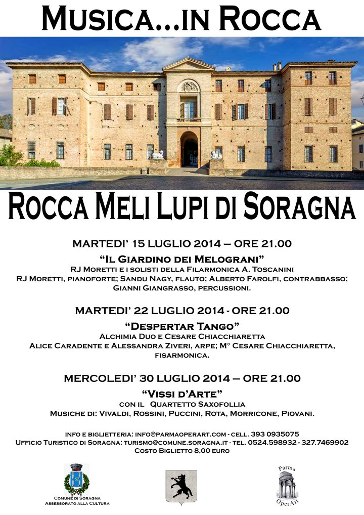 In luglio tre concerti alla Rocca Meli Lupi di Soragna
