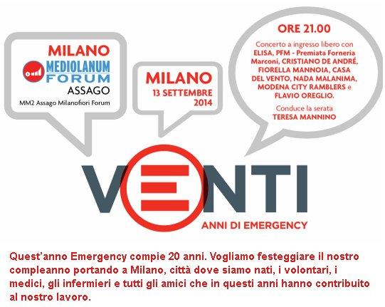 Sabato 13 settembre: EMERGENCY festeggia 20 anni a Milano, tu ci sarai?