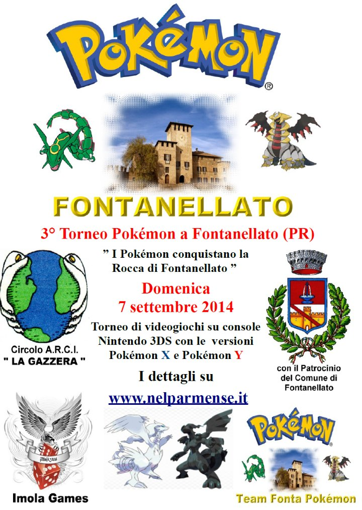 """3° Torneo Pokémon a Fontanellato  """" I Pokémon conquistano la Rocca di Fontanellato """" 7 Settembre 2014"""