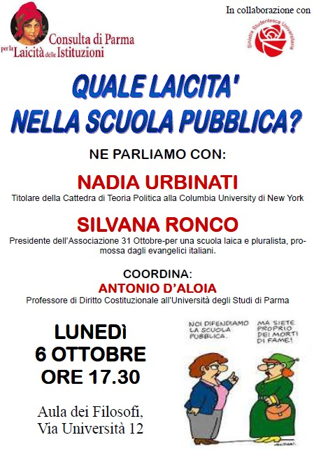 """Un incontro pubblico con  Nadia Urbinati e Silvana Ronco sul tema  """"QUALE LAICITA' NELLA SCUOLA PUBBLICA ?"""""""