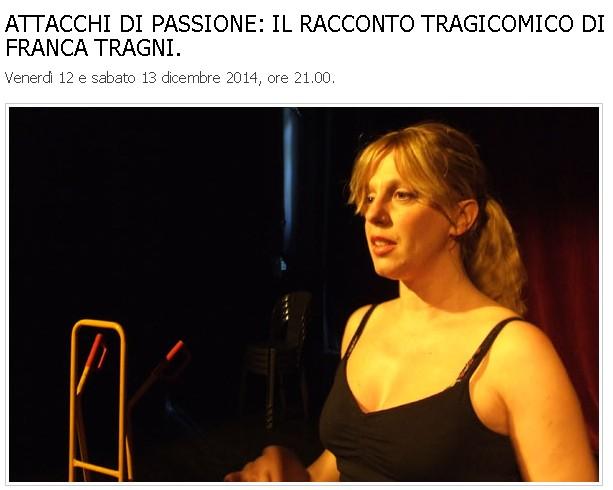 Teatro di Fontanellato: Franca Tragni in scena con 'Attacchi di passione'