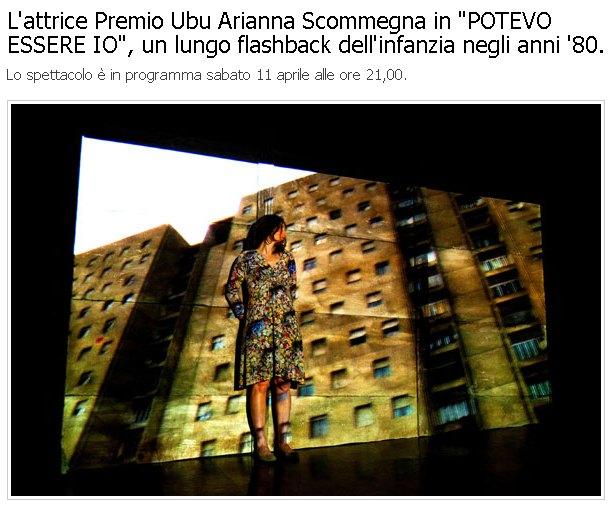 """Teatro di Fontanellato, l'attrice Premio Ubu Arianna Scommegna in """"POTEVO ESSERE IO"""", un lungo flashback dell'infanzia negli anni '80"""