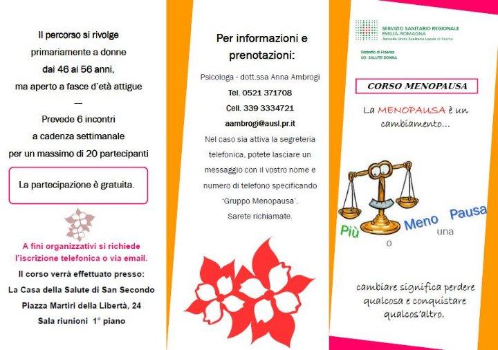 Un nuovo corso menopausa il 22 aprile a S. secondo