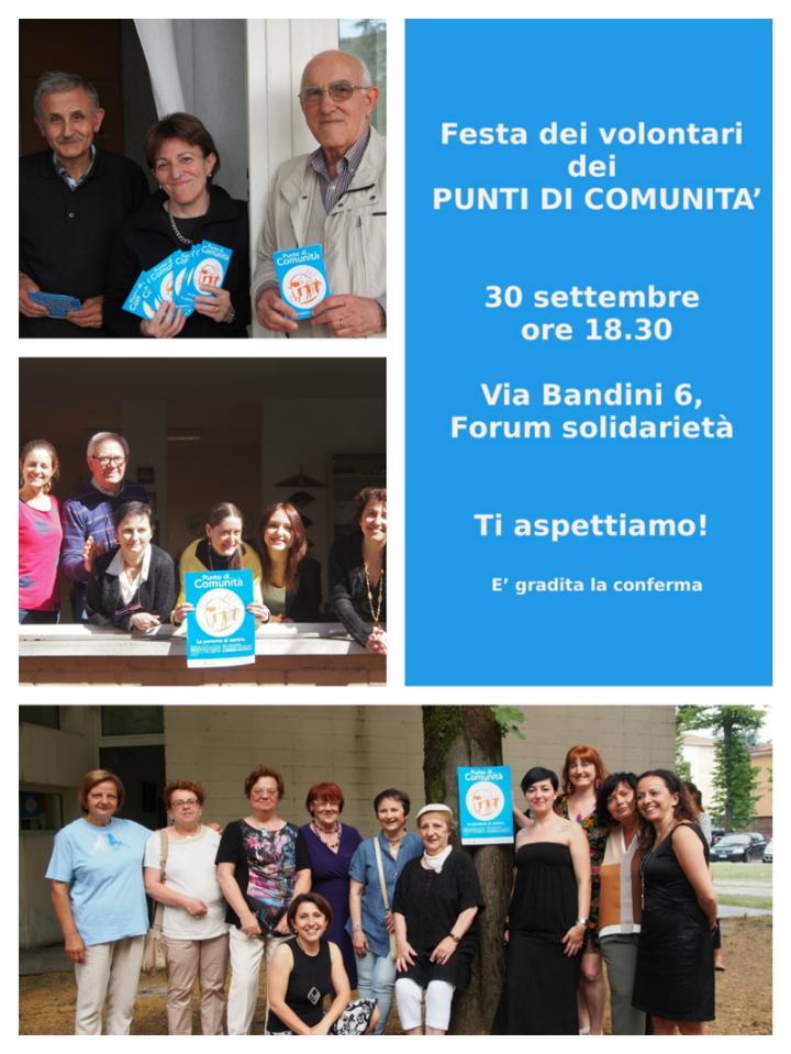 Festa dedicato ai volontari dei Punti di Comunità
