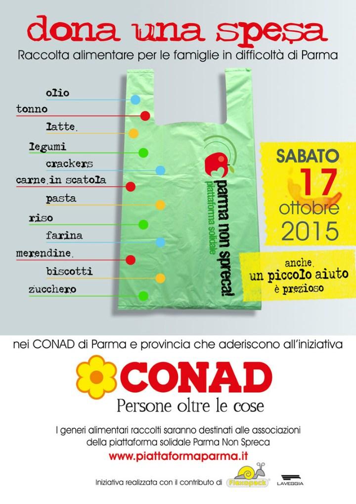 Dona una spesa, la raccolta alimentare promossa da Parma non spreca-Piattaforma solidale, in collaborazione con Conad Centro Nord