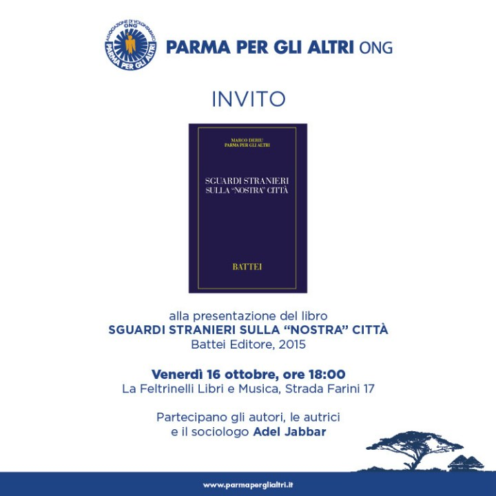 """Parma per gli Altri Ong_Invito Stampa presentazione libro """"Sguardi stranieri sulla nostra città"""""""
