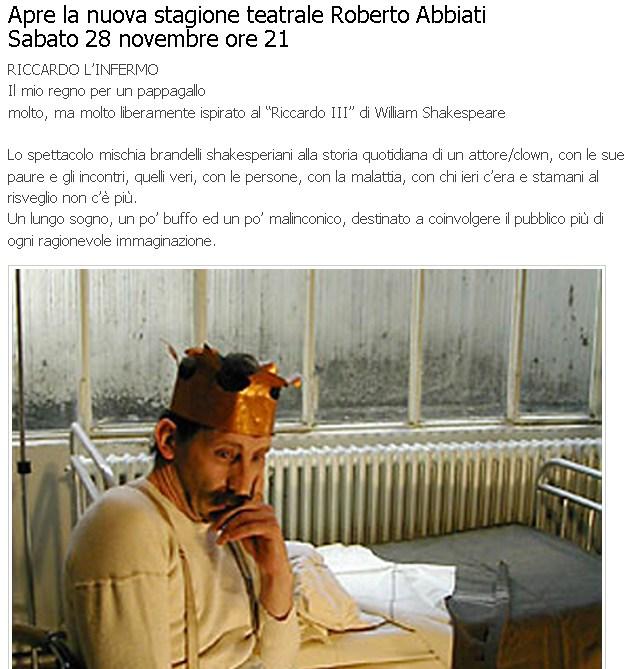 Teatro di Fontanellato, apre la nuova stagione teatrale Roberto Abbiati