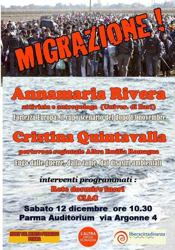 Iniziativa 12 dicembre su migrazione