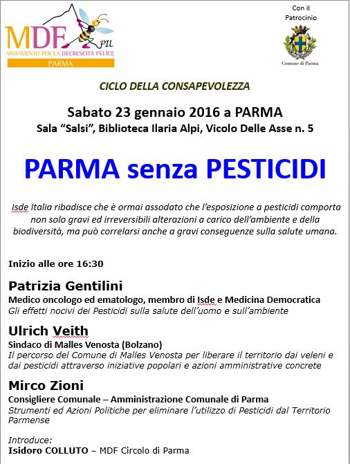 Sindaco di Malles Venosta a Parma NO PESTICIDI - 23 Gennaio a Parma - MDF