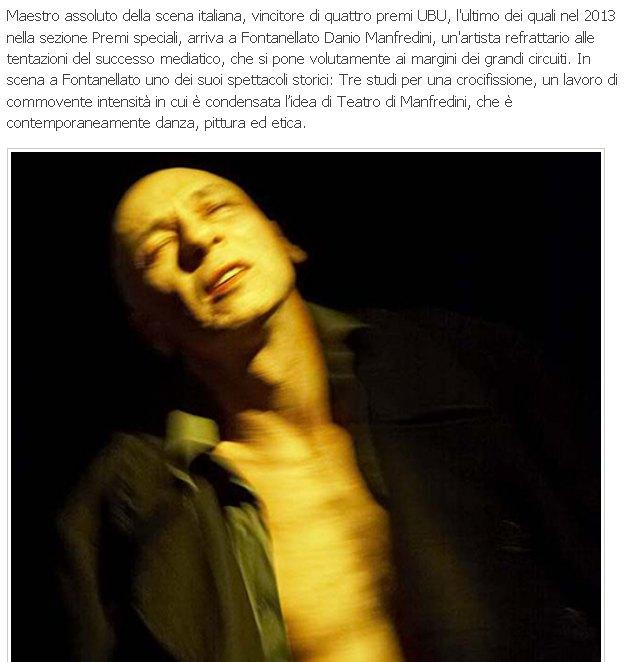 Teatro di Fontanellato, appuntamento con Danio Manfredini,sabato 6 febbraio 2016