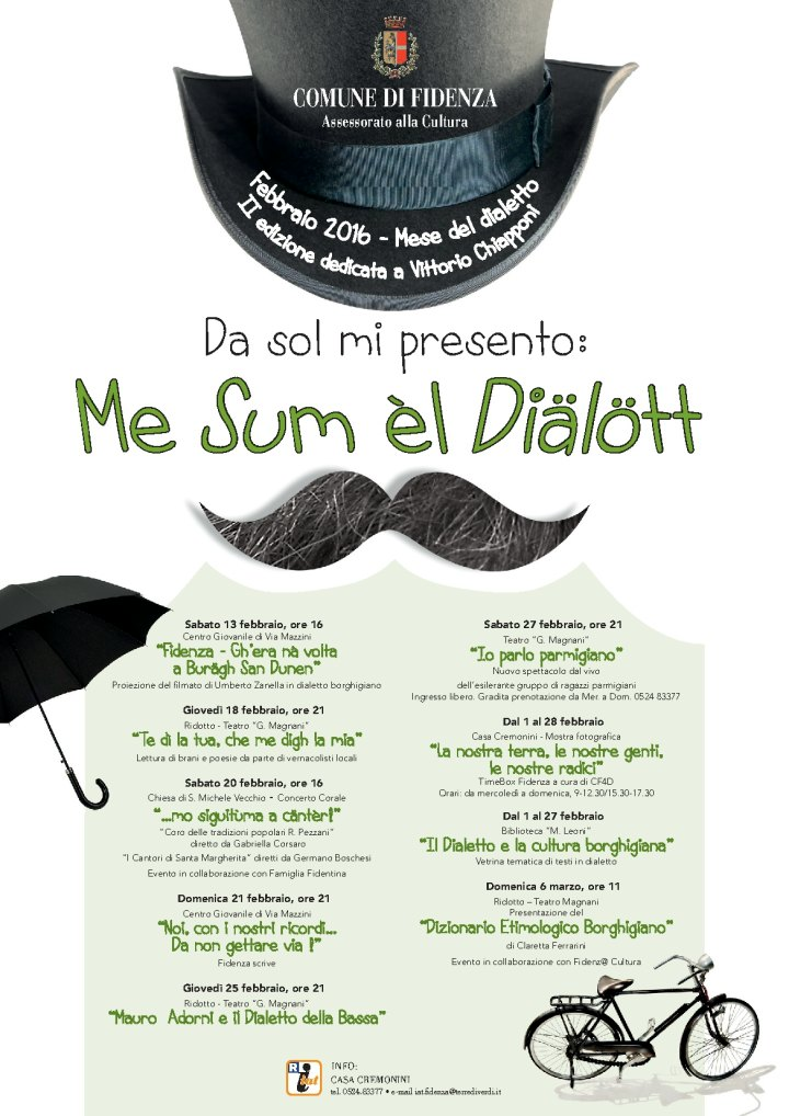 COMUNE DI FIDENZA ASSESSORATO ALLA CULTURA. Presentata la II° edizione di Febbraio Mese del dialetto.