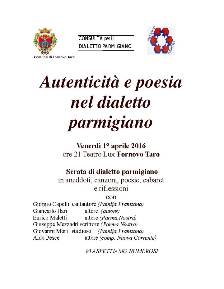 Serata dialettale Parmigiana al Teatro Lux di Fornovo venerdi 1 aprile ore 21,15