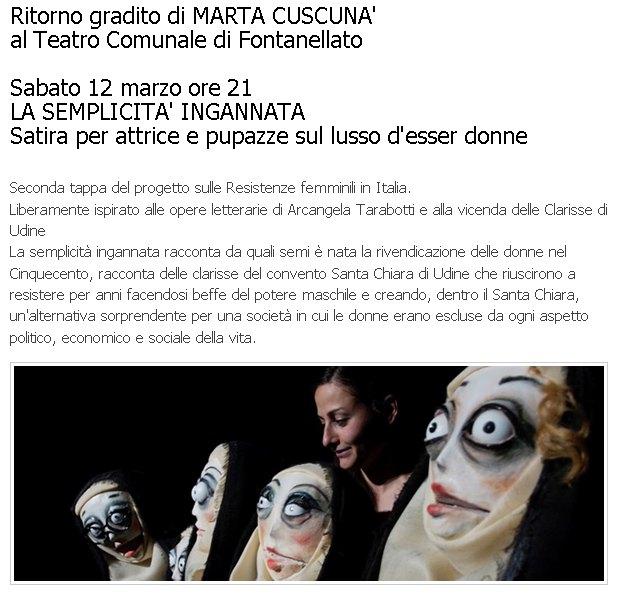 Ritorno gradito di MARTA CUSCUNA' al Teatro Comunale di Fontanellato
