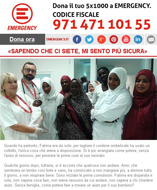 Emergency, «Sapendo che ci siete, mi sento più sicura»