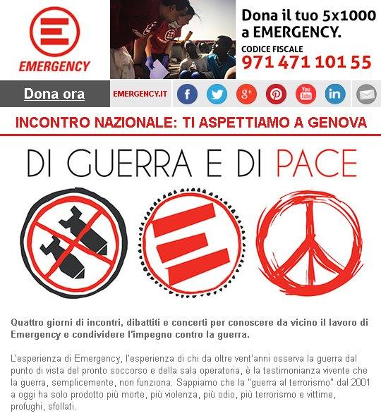 Quattro giorni di incontri, dibattiti e concerti per conoscere da vicino il lavoro di Emergency e condividere l'impegno contro la guerra. Ti aspettiamo il 30 giugno e l'1-2-3 luglio a Genova.