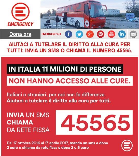 Emergency, un SMS al 45565 per tutelare il diritto alla cura per tutti