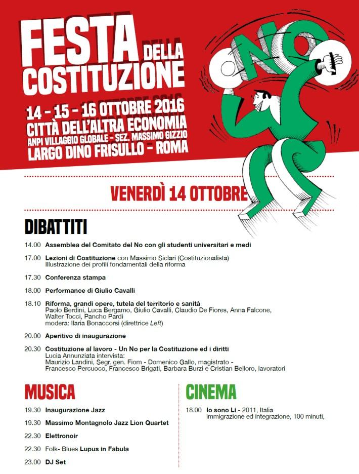 Festa della Costituzione a Roma 14 -15 -16 ottobre