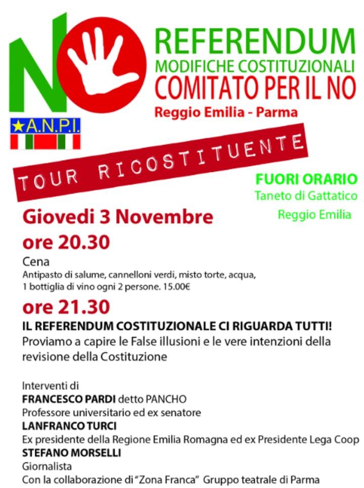 al Circolo Fuori Orario a Taneto di Gattatico serata dedicata alla riforma costituzionale, organizzata dai Comitati per il NO di Parma e Reggio Emilia