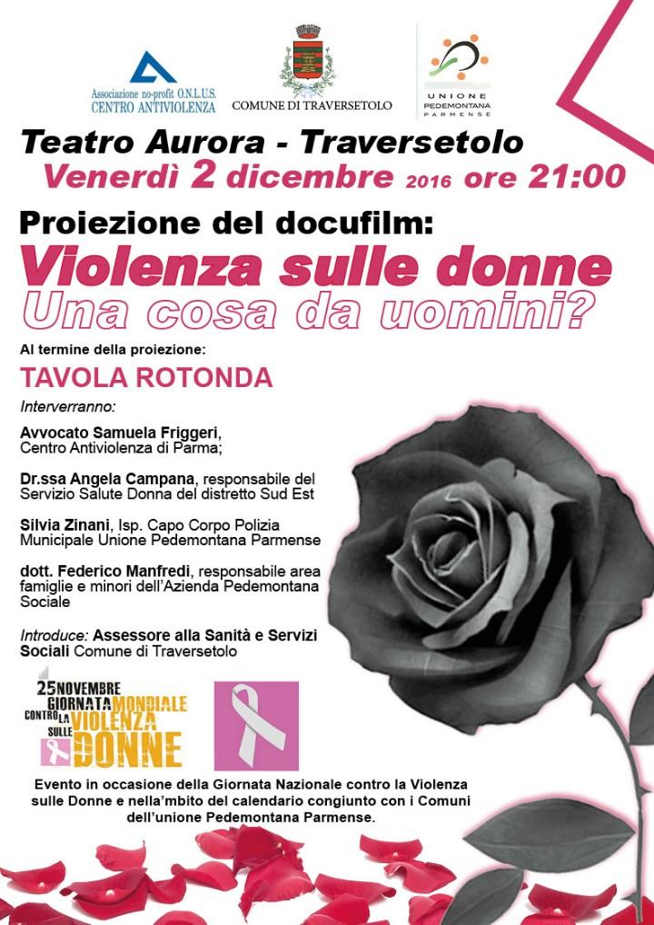 serata contro violenza donne 2-12-2016