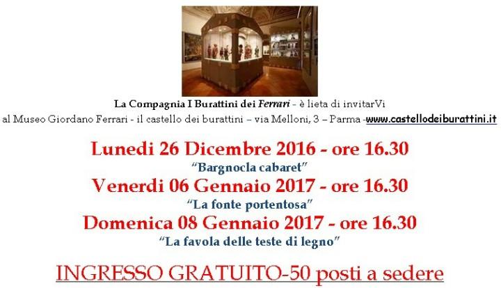 INGRESSO GRATUITO spettacoli di natale al Museo Giordano Ferrari il castello dei burattini Via Melloni 3 - Parma