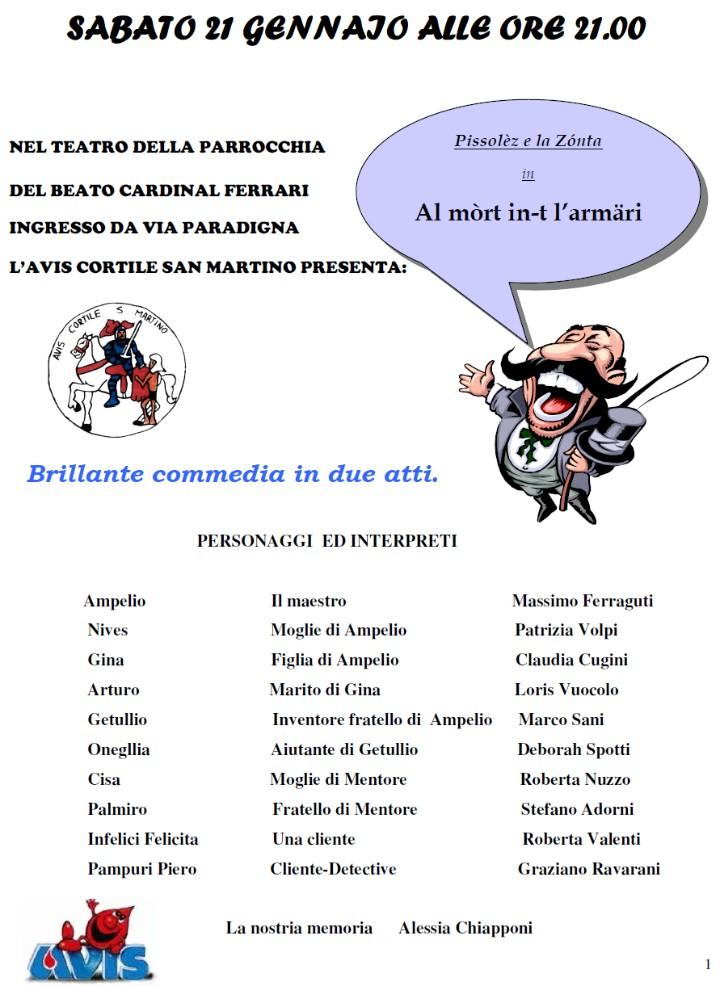 """la compagnia dialettale """"Pissolès e la Zònta""""che porterà in scena una brillante commedia in due atti intitolata """" Al mòrt in-t l'armari"""""""