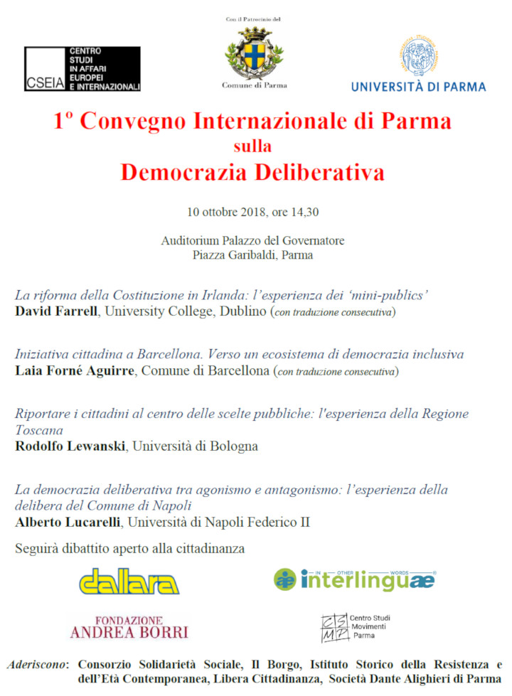 """""""1° Convegno Internazionale di Parma sulla Democrazia Deliberativa"""""""