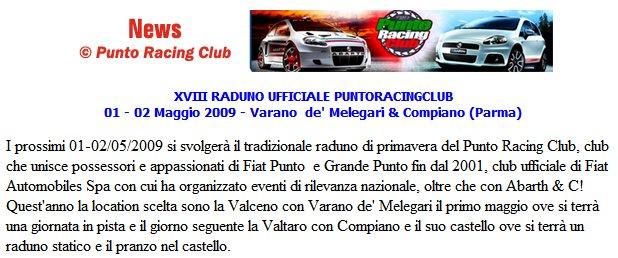 XVIII RADUNO UFFICIALE PUNTORACINGCLUB 01 - 02 Maggio 2009 - Varano  de' Melegari & Compiano (Parma)