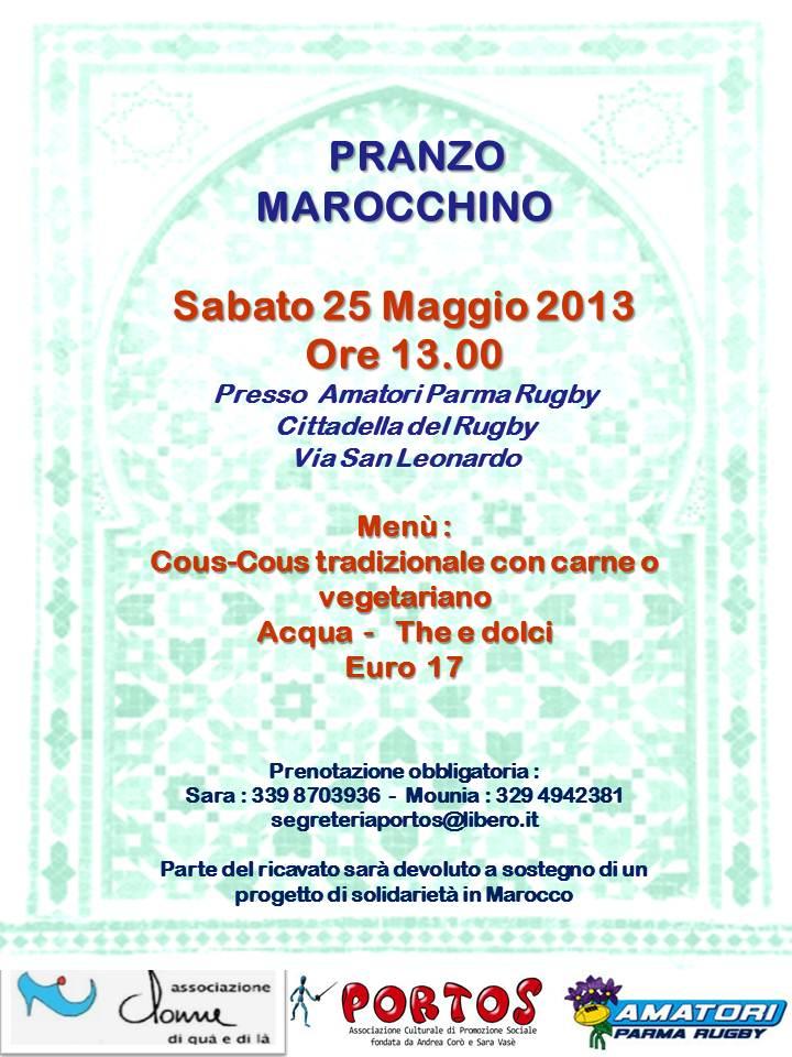 """Le  Associazioni: Portos,  """"Donne di qua e di là"""" e  Amatori Parma Rugby,   organizzano un gustoso pranzo marocchino"""