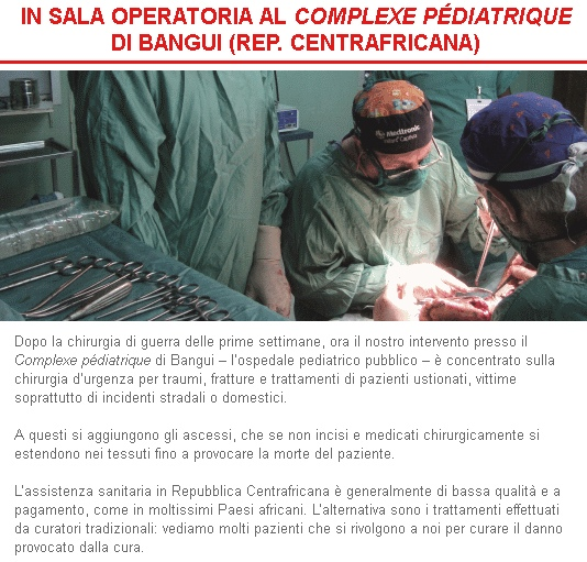 Emergency, IN SALA OPERATORIA AL COMPLEXE PÉDIATRIQUE DI BANGUI (REP. CENTRAFRICANA)