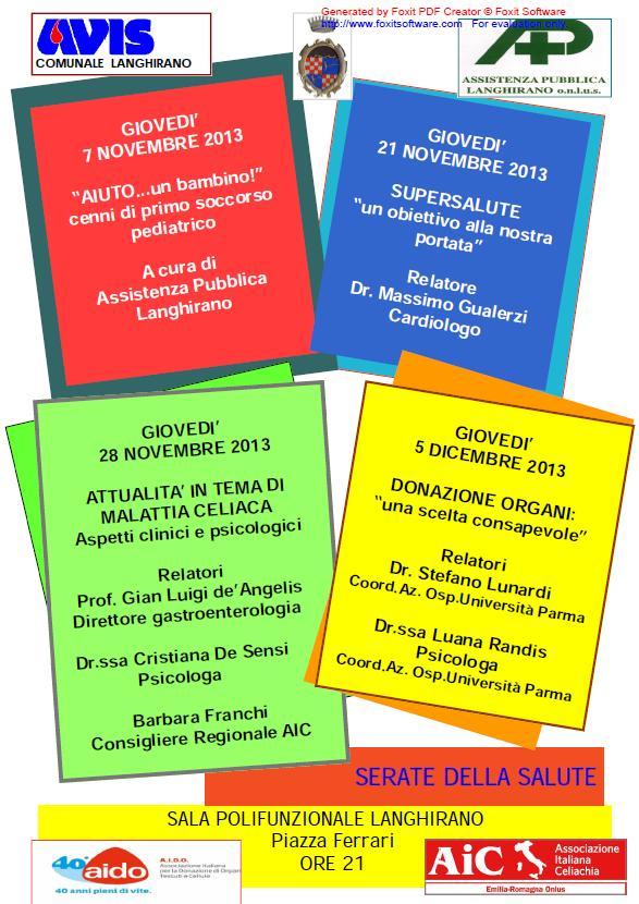 Iniziativa serate salute Avis Langhirano serata sulla malattia celiaca 28/11/2013