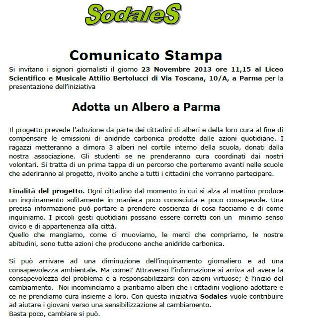 Iniziativa di SODALES del 23 11 13 al Liceo Bertoucci - ADOTTA UN ALBERO