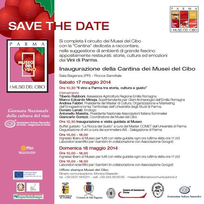 SAVE THE DATE 17 maggio 2014 - INAUGURAZIONE della Cantina dei Musei del Cibo