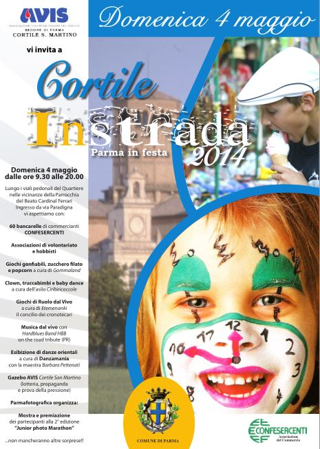 Compie 11 anni la festa di Quartiere di Cortile San Martino,  organizzata da Confesercenti in collaborazione con AVIS Cortile S.Martino  domenica 4 maggio 2014 dalle 9:30 alle 20:00