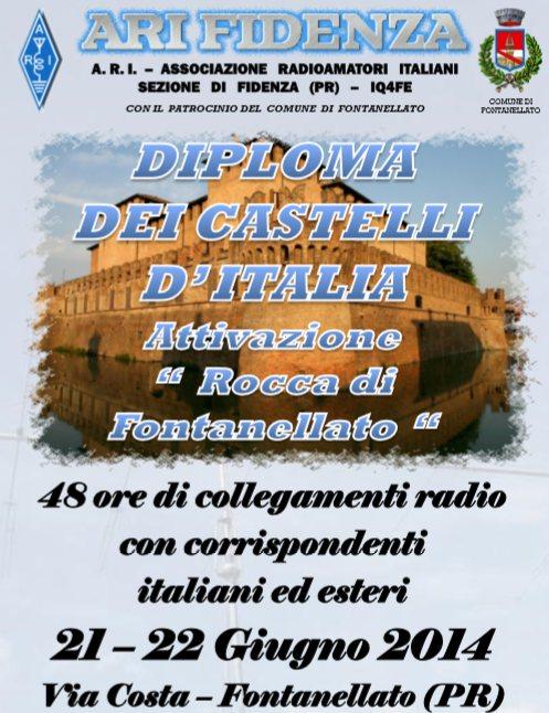 """DIPLOMA DEI CASTELLI D'ITALIA  ATTIVAZIONE """"ROCCA DI FONTANELLATO """" Sabato 21 e Domenica 22 Giugno  2014"""