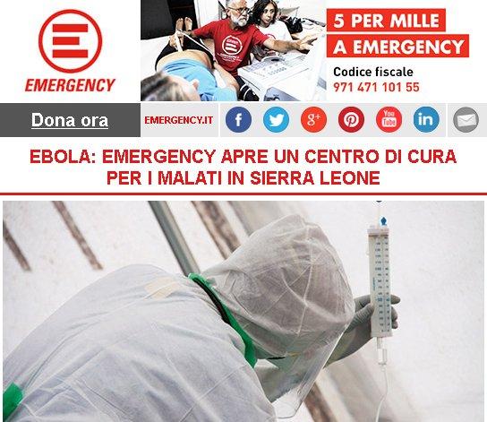 EBOLA: EMERGENCY APRE UN CENTRO DI CURA PER I MALATI IN SIERRA LEONE