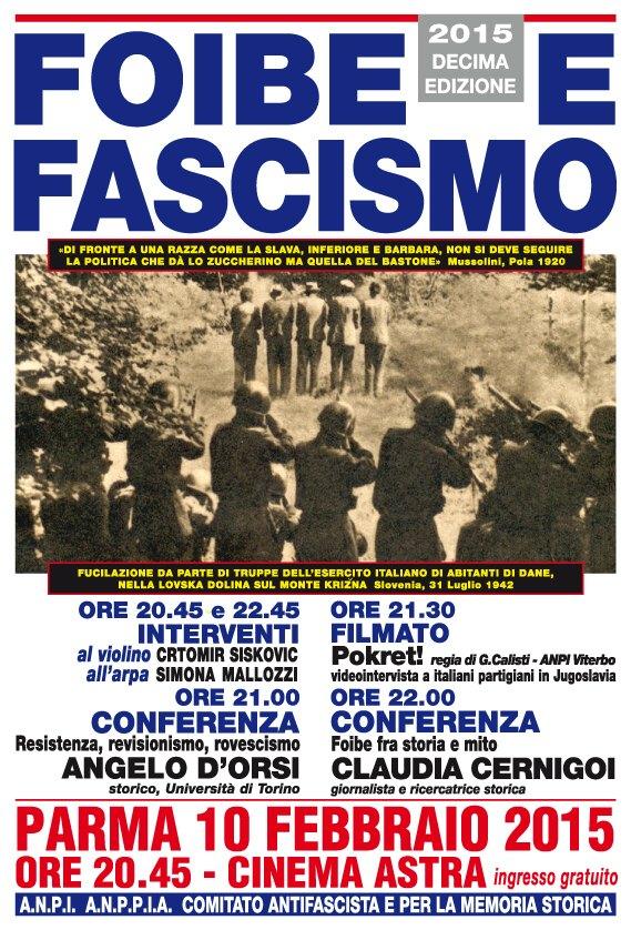 Contromanifestazione antifascista con Angelo d'Orsi e Claudia Cernigoi il 10 febbraio a Parma