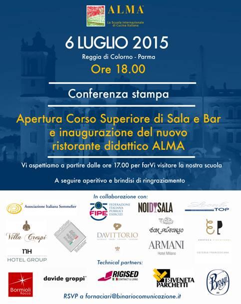 ALMA> Conferenza stampa 6 Luglio >presentazione ufficiale nuovo corso di sala e bar con Gualtiero Marchesi